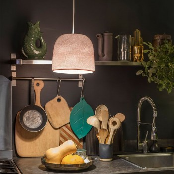 Lamp Cloche dragee met het licht aan