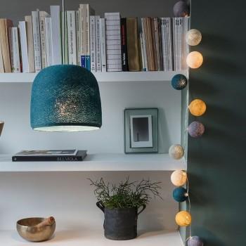 Lamp Cloche eendenblauw met het licht aan