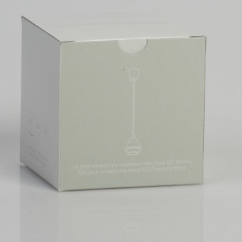 Einfache Aufhängung mit hellgrauem Textilgeflechtkabel - Die Zuberhör für Leuchten - La Case de Cousin Paul