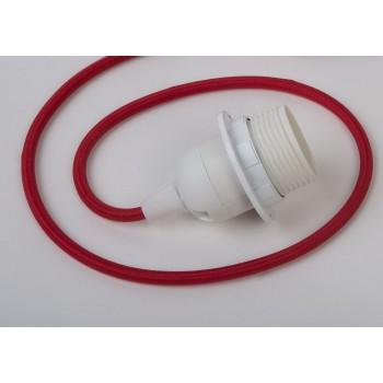 Einfache Aufhängung mit rotem Textilgeflechtkabel - Die Zuberhör für Leuchten - La Case de Cousin Paul