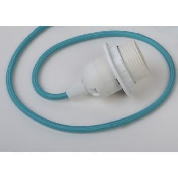 suspensión simple cable tejido turquesa - Accesorios para lamparas - La Case de Cousin Paul