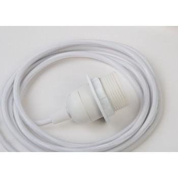 single hanging fixture white braided cord, 250 cm - Lights accessories - La Case de Cousin Paul