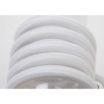 Einfache Aufhängung mit weiβem Textilgeflechtkabel, 250 cm - Die Zuberhör für Leuchten - La Case de Cousin Paul