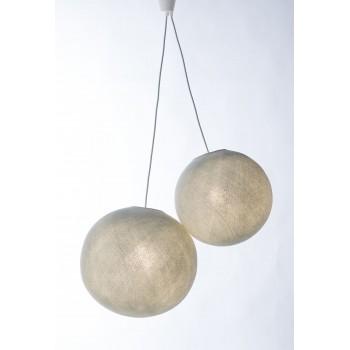 Zweifache Aufhängung mit hellgrauem Textilgeflechtkabel - Die Zuberhör für Leuchten - La Case de Cousin Paul