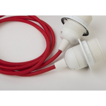 double hanging fixture with red braided cord - Lights accessories - La Case de Cousin Paul