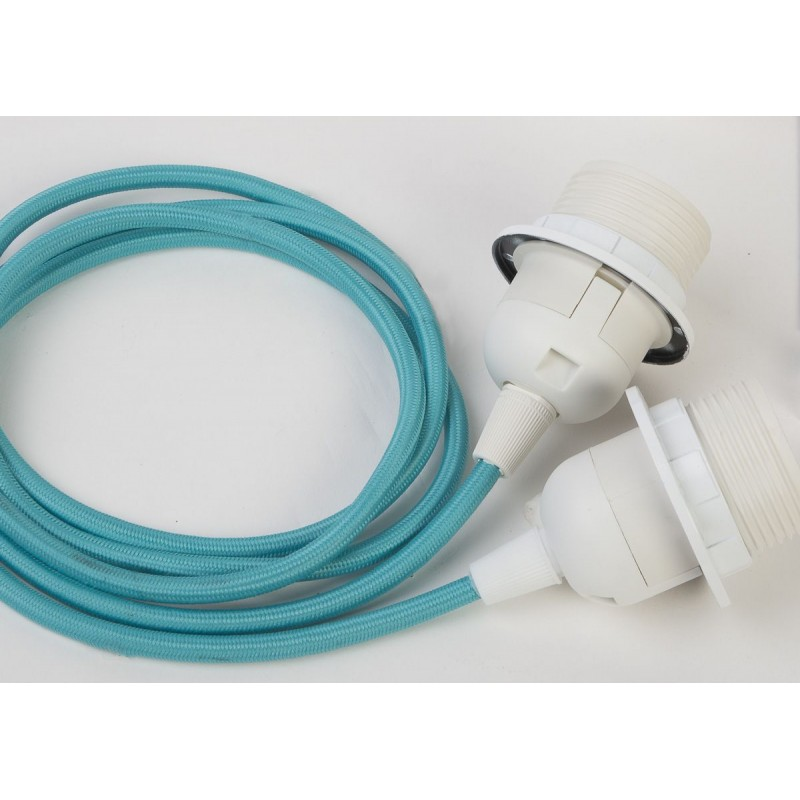 suspensión doble cable tejido turquesa - Accesorios para lamparas - La Case de Cousin Paul