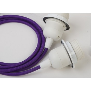 double hanging fixture with purple braided cord - Lights accessories - La Case de Cousin Paul