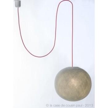 Einfache Aufhängung mit rotem Textilgeflechtkabel, 250 cm - Die Zuberhör für Leuchten - La Case de Cousin Paul
