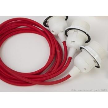 suspensión triple cable tejido rojo - Accesorios para lamparas - La Case de Cousin Paul