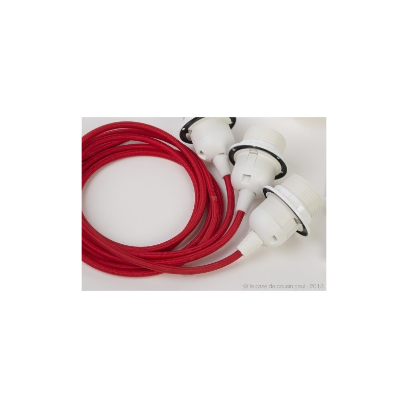 Suspension triple - Rouge - Accessoires luminaires - La Case de Cousin Paul