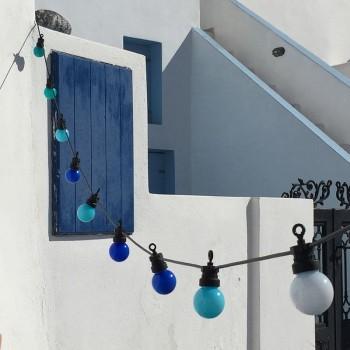coffret guirlande LED guinguette bleu, en situation