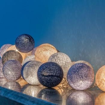 guirlande lumineuse boules bleu gris