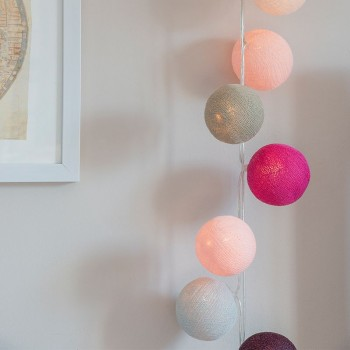 guirlande lumineuse boules rose poudré