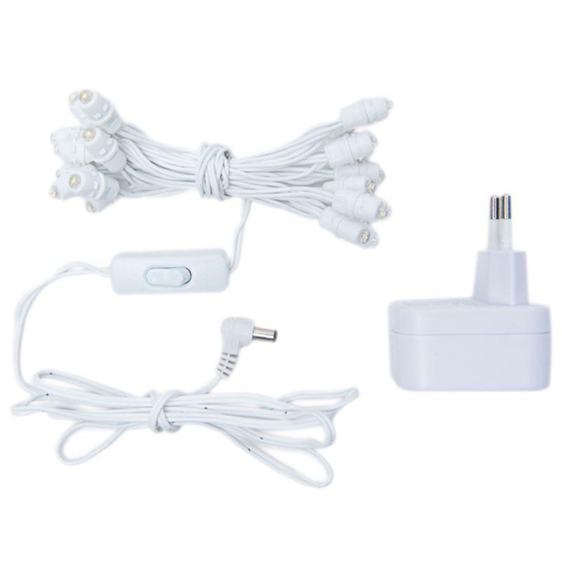 Premium slinger met 20 LED-lampjes, wit CE snoer - Premium toebehoren - La Case de Cousin Paul