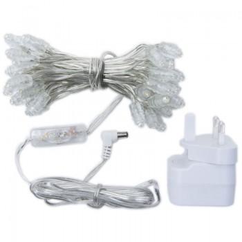 Premium slinger met 50 LED-lampjes, transparant UK snoer - Premium toebehoren - La Case de Cousin Paul