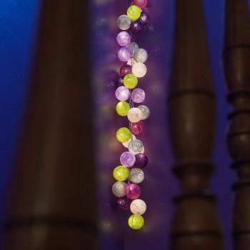 guirlande lumineuse boules violet vert gris