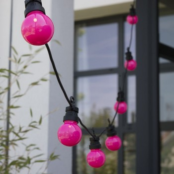 extension guirlande LED guinguette Rose, en situation