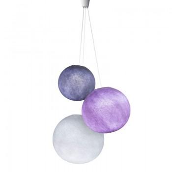 suspension 3 boules lavande violine blanc
