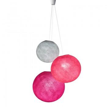 suspension 3 globes perle rose fuchsia