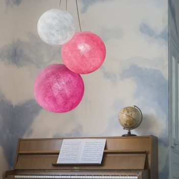 suspension 3 globes perle rose fuchsia