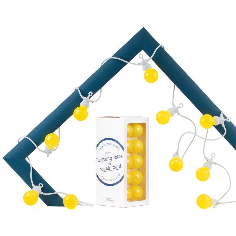 coffret guirlande LED Guinguette intérieur extérieur Citron câble blanc