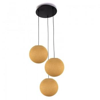Plafonnier 3 noir, globes S uni moutarde - Plafonnier 3 - La Case de Cousin Paul