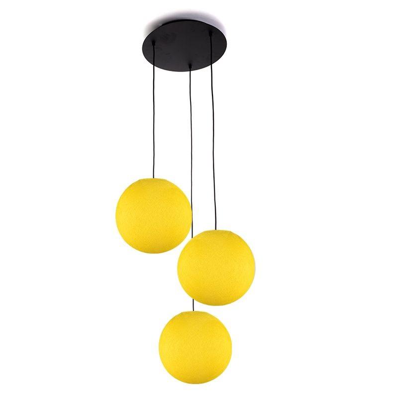 Plafonnier 3 noir, globes S uni jaune - Plafonnier 3 - La Case de Cousin Paul