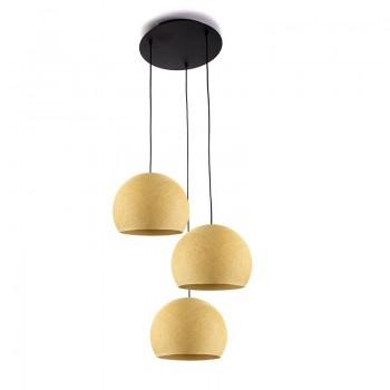 Plafondbevestiging 3 koepellampen S mosterd - Plafondbevestiging 3 - La Case de Cousin Paul