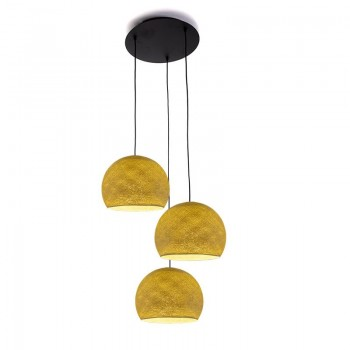 Plafondbevestiging 3 koepellampen S mosterd - Plafonnier 3 - La Case de Cousin Paul