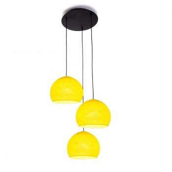 Ceiling fixture 3 yellow cupolas S - Plafonnier 3 - La Case de Cousin Paul