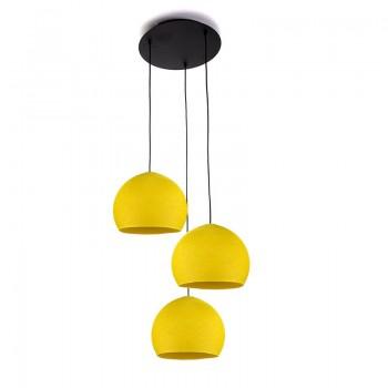 Plafonnier 3 noir, coupoles S uni jaune - Plafonnier 3 - La Case de Cousin Paul