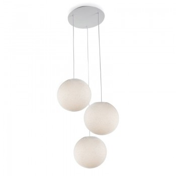 Plafonnier 3 blanc, globes S uni écru - Plafonnier 3 - La Case de Cousin Paul