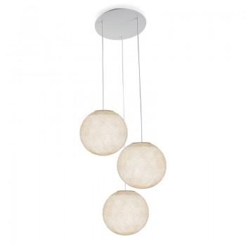 Ceiling fixture 3 ecru globes S - Plafonnier 3 - La Case de Cousin Paul