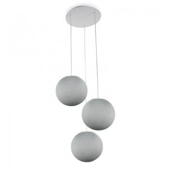 Plafonnier 3 blanc, globes S uni gris perle - Plafonnier 3 - La Case de Cousin Paul