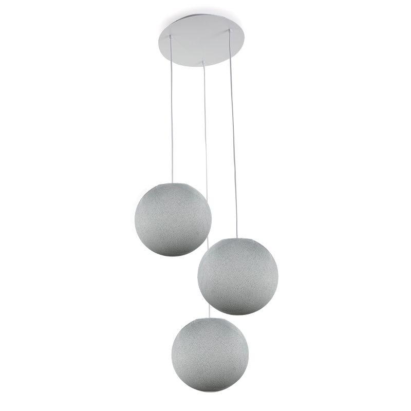 Ceiling fixture 3 pearl grey globes S - Plafonnier 3 - La Case de Cousin Paul