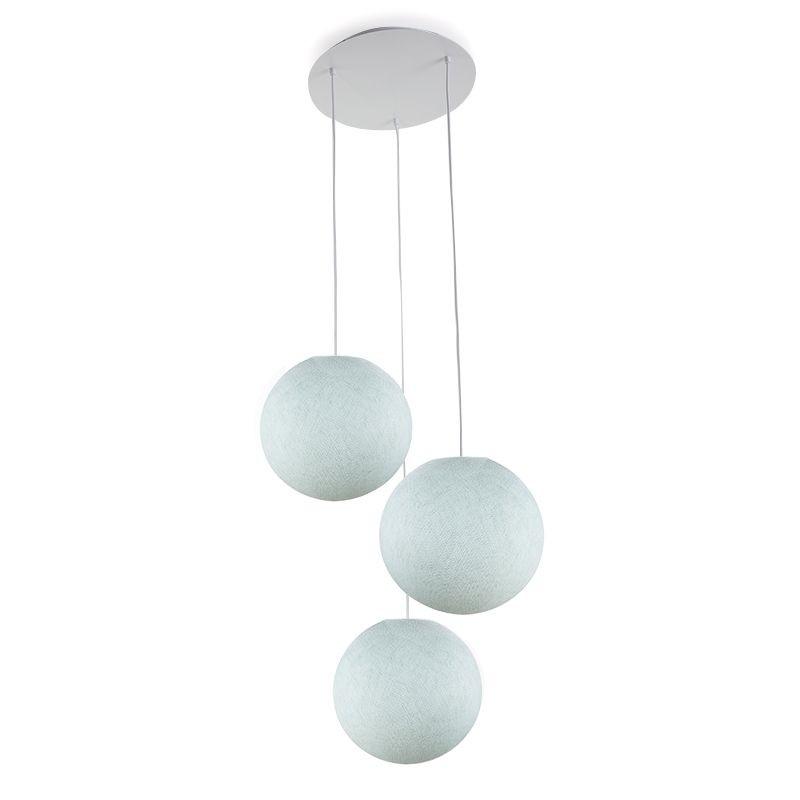 Plafonnier 3 blanc, globes S uni azur - Plafonnier 3 - La Case de Cousin Paul