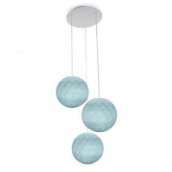 Ceiling fixture 3 azure globes S - Plafonnier 3 - La Case de Cousin Paul