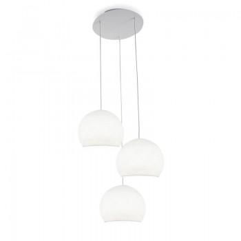 Ceiling fixture 3 white cupolas S - Plafonnier 3 - La Case de Cousin Paul