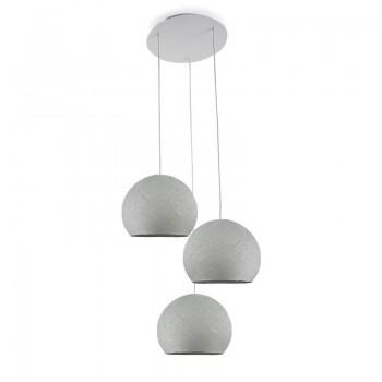 Plafonnier 3 blanc, coupoles S uni gris perle - Plafonnier 3 - La Case de Cousin Paul