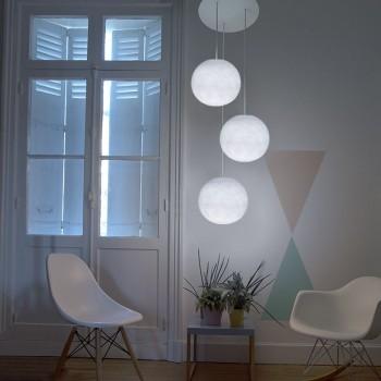 Ceiling fixture 3 white globes S - Plafonnier 3 - La Case de Cousin Paul