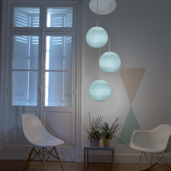 Lámpara de techo 3 globos S azul - Plafonnier 3 - La Case de Cousin Paul
