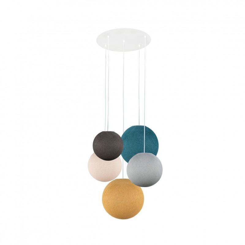 Plafondbevestiging 5 ballampen grafiet-perlgrau-linnen-eendenblauw-mosterd - Plafonnier 5 - La Case de Cousin Paul