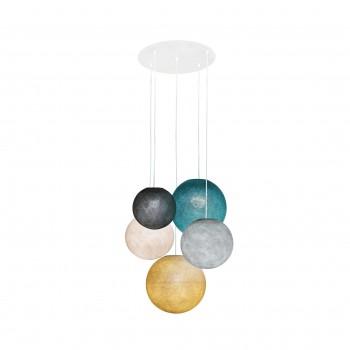 Plafonnier 5 blanc- globes graphite-perle-lin-canard-moutarde - Plafonnier 5 - La Case de Cousin Paul