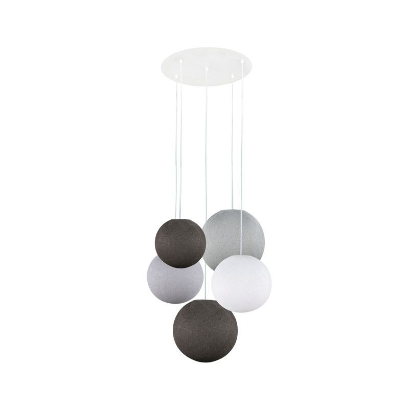 Ceiling fixture 5 anthracite-white-pebble-anthracite-pearl grey globes - Plafonnier 5 - La Case de Cousin Paul