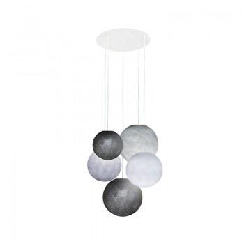 Plafonnier 5 blanc - globes graphite-blanc-galet-graphite-perle - Plafonnier 5 - La Case de Cousin Paul