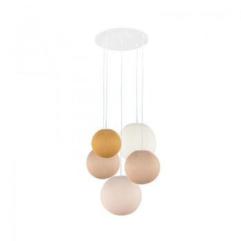 Lámpara de techo 5 globos mostaza-arena-arena-marfil-lino - Lámpara de techo 5 - La Case de Cousin Paul