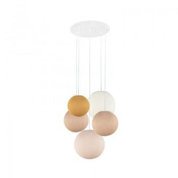 Plafoniera 5 sfere senape-sabbia-sabbia-avorio-lino - Plafonnier 5 - La Case de Cousin Paul
