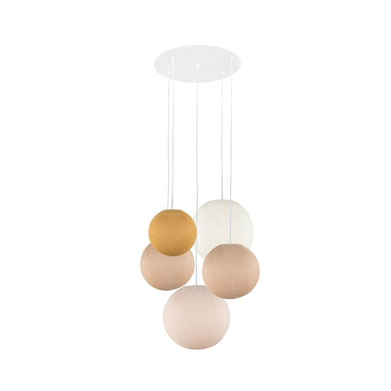 Plafondbevestiging 5 ballampen senf-zand-zand-ivoor-linnen - Plafonnier 5 - La Case de Cousin Paul