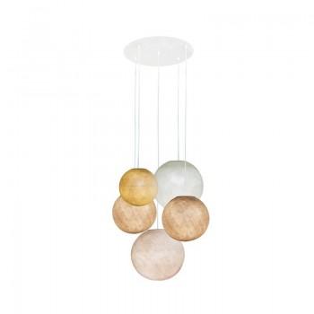 Plafonnier 5 blanc - globes moutarde-sable-sable-ivoire-lin - Plafonnier 5 - La Case de Cousin Paul