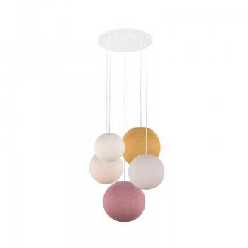 Plafonnier 5 blanc - globes écru-dragée-lin-moutarde-vieux rose - Plafonnier 5 - La Case de Cousin Paul